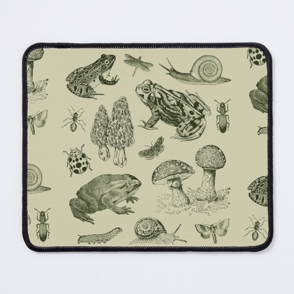 Goblincore Frog Mushroom Snail Moth Insect Vintage Biology Nature Lover - Science Biology Natural History Mouse Pad