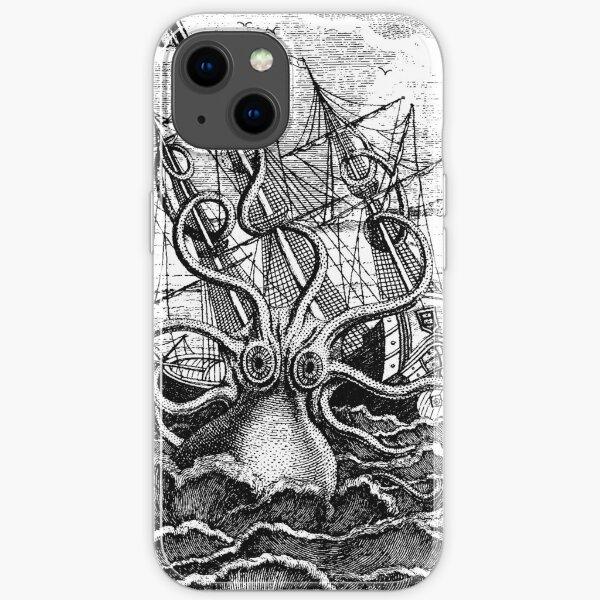 Vintage Kraken attacking ship illustration iPhone Soft Case
