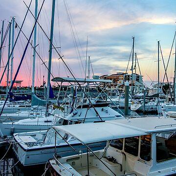 Sailboats at Sunset by mechalamatthews