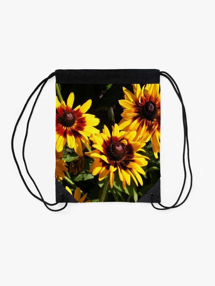 Alternate view of YELLOW AND RED SUNFLOWERS, SEEDS AND PETALS Drawstring Bag