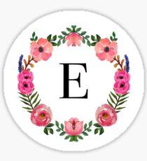 Flower Wreath Letter E Sticker