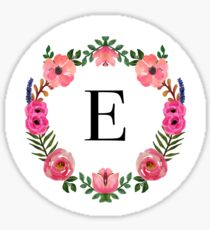 Flower Wreath Letter E Sticker