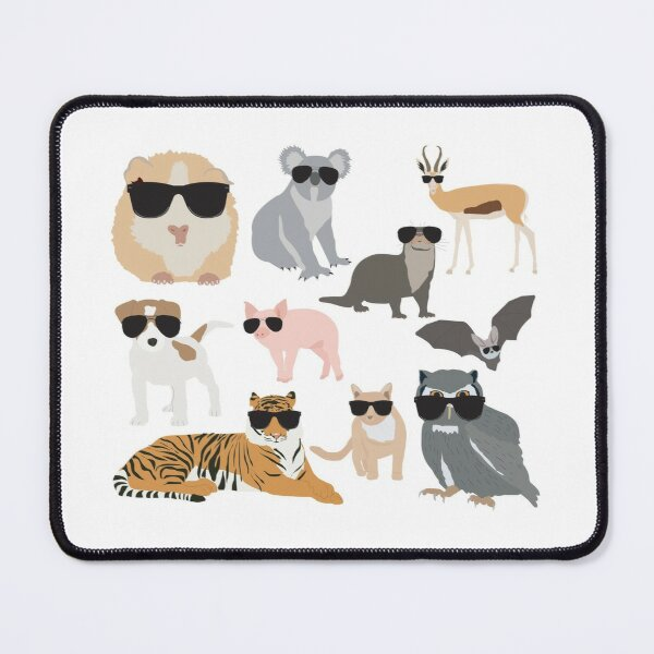 Cool and Funny Animals Wearing Sunglasses  Mouse Pad