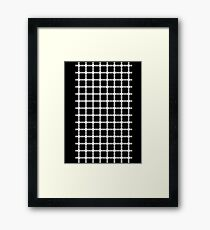 Optical illusion black grid with white dots Framed Print