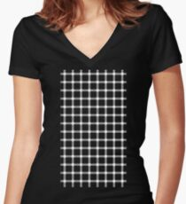 Optical illusion black grid with white dots Women's Fitted V-Neck T-Shirt