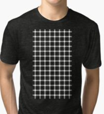 Optical illusion black grid with white dots Tri-blend T-Shirt