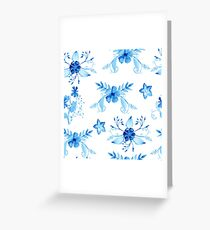 Blue Watercolor Vintage Flowers Greeting Card