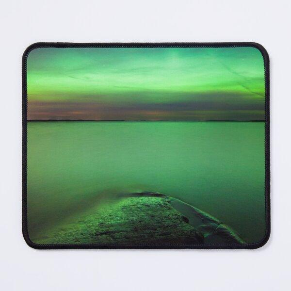 Northern lights glow over lake Mouse Pad