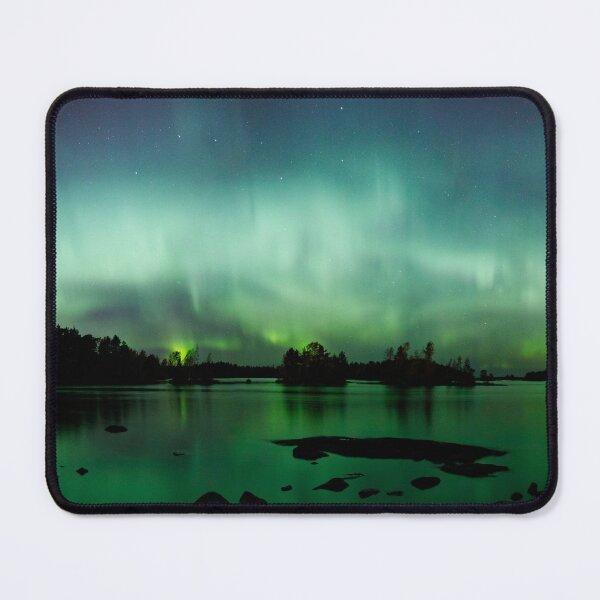 Beautiful northern lights over lake panorama Mouse Pad