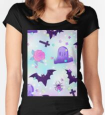 Kawaii funny spooky pattern Women's Fitted Scoop T-Shirt