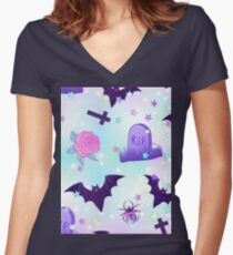 Kawaii funny spooky pattern Women's Fitted V-Neck T-Shirt