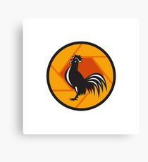 Rooster Crowing Shutter Circle Retro Canvas Print
