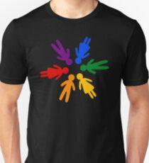 Rainbow People Circle (black background) Unisex T-Shirt
