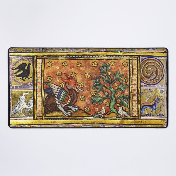 MEDIEVAL BESTIARY,RED DRAGON TREE LIFE AND BIRDS . FANTASTIC ANIMALS IN GOLD RED BLUE COLORS Desk Mat
