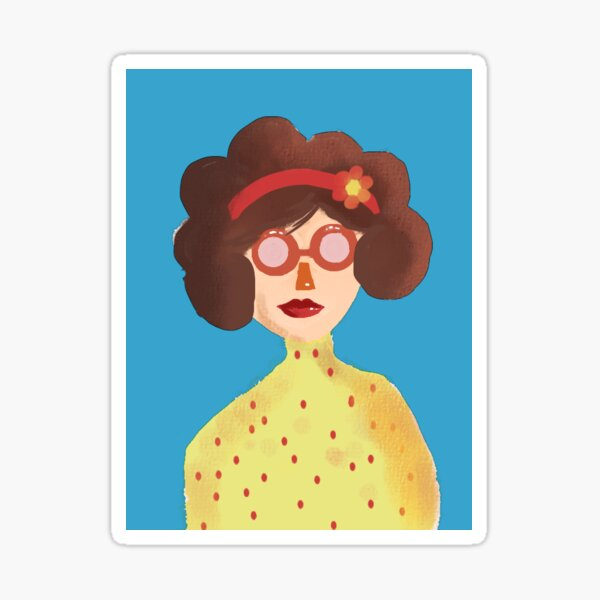 The Lady with blue background Glossy Sticker