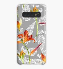 orange lilies and paisley pattern Case/Skin for Samsung Galaxy