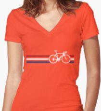 Bike Stripes Netherlands National Road Race v2 Women's Fitted V-Neck T-Shirt