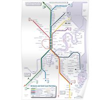 Brisbane and Gold Coast Train, Tram and Ferry map Poster