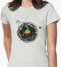 Reggae Music - Vinyl Records Cannabis Leaf - DJ inspired design Womens Fitted T-Shirt
