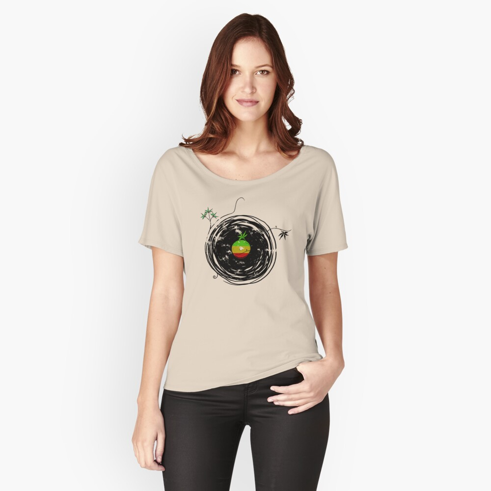Reggae Music - Vinyl Records Cannabis Leaf - DJ inspired design Women's Relaxed Fit T-Shirt Front