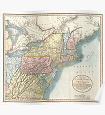 Old New England Map.New England Map Drawing Posters Redbubble