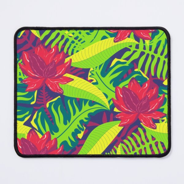 Red Water lilies with green leaves Mouse Pad