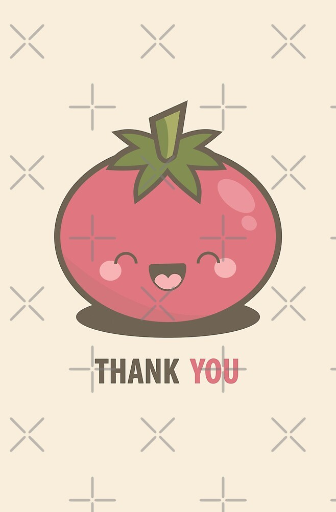 Happy Kawaii Tomato Thank You Card by Lisa Marie Robinson