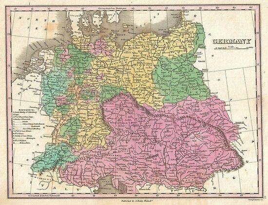 Vintage Map of Germany (1827)  von BravuraMedia