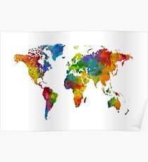 Map of the World Map Watercolor Poster