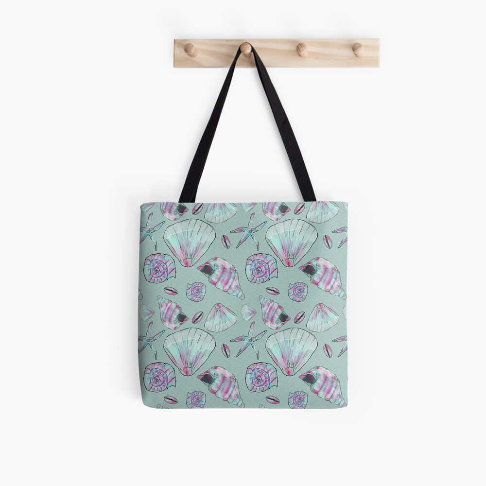Seashell Pattern in Aqua, Turquoise, Pink and White Tote Bag