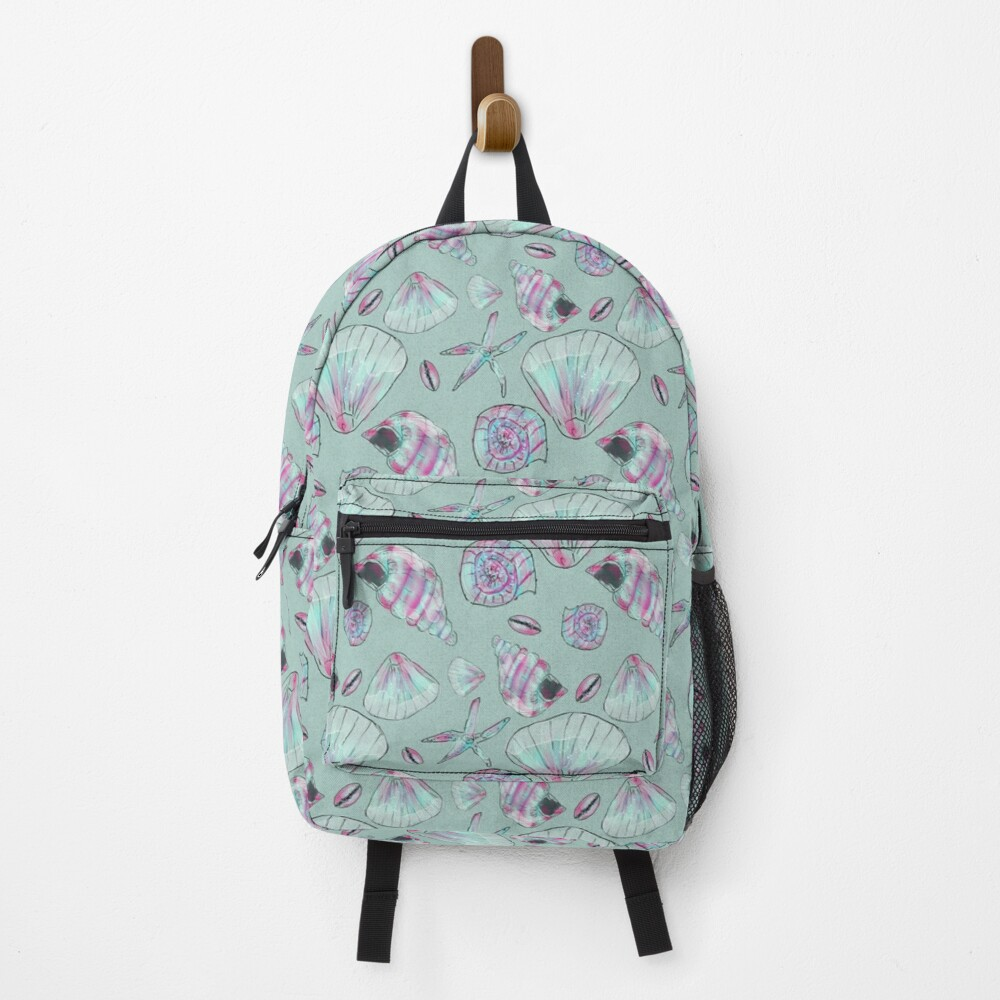 Seashell Pattern in Aqua, Turquoise, Pink and White Backpack