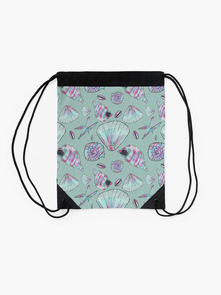 Alternate view of Seashell Pattern in Aqua, Turquoise, Pink and White Drawstring Bag