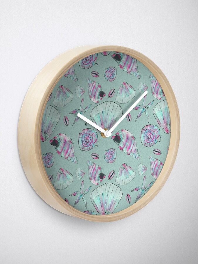 Alternate view of Seashell Pattern in Aqua, Turquoise, Pink and White Clock
