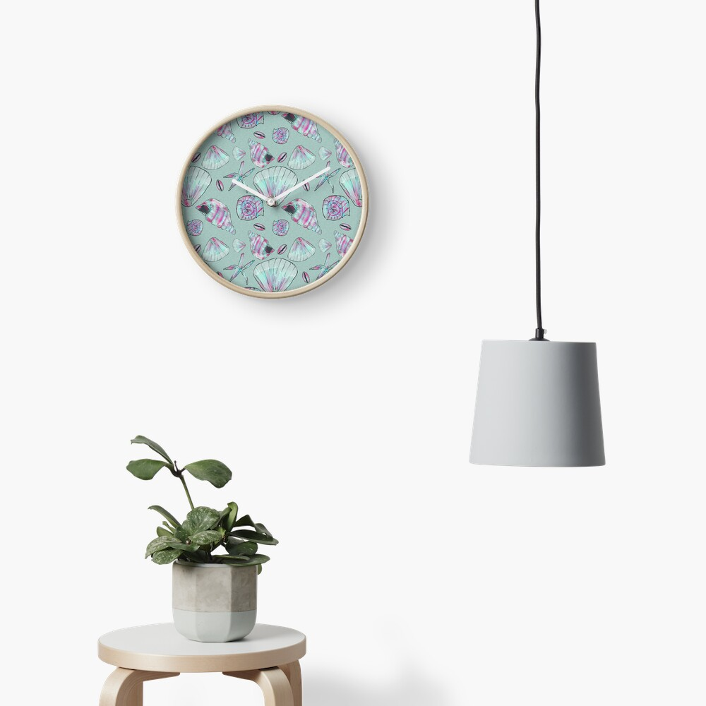 Seashell Pattern in Aqua, Turquoise, Pink and White Clock