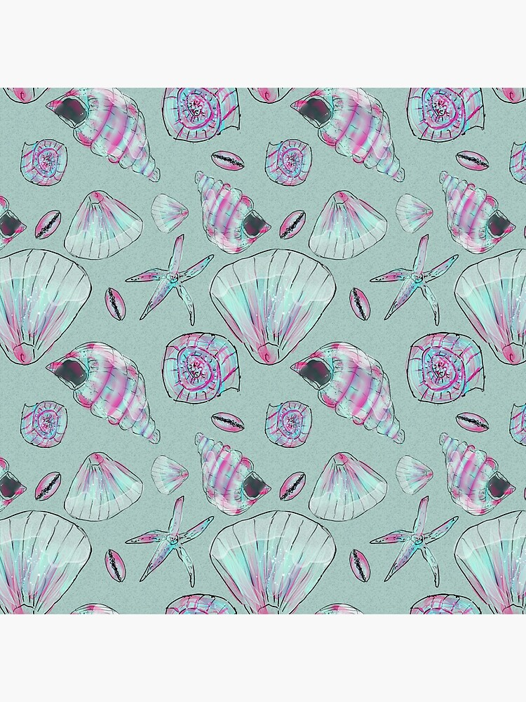 Seashell Pattern in Aqua, Turquoise, Pink and White by ClareWalkerArt