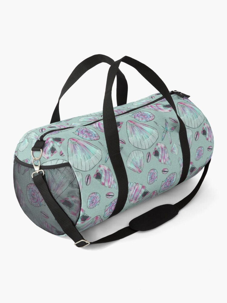 Alternate view of Seashell Pattern in Aqua, Turquoise, Pink and White Duffle Bag