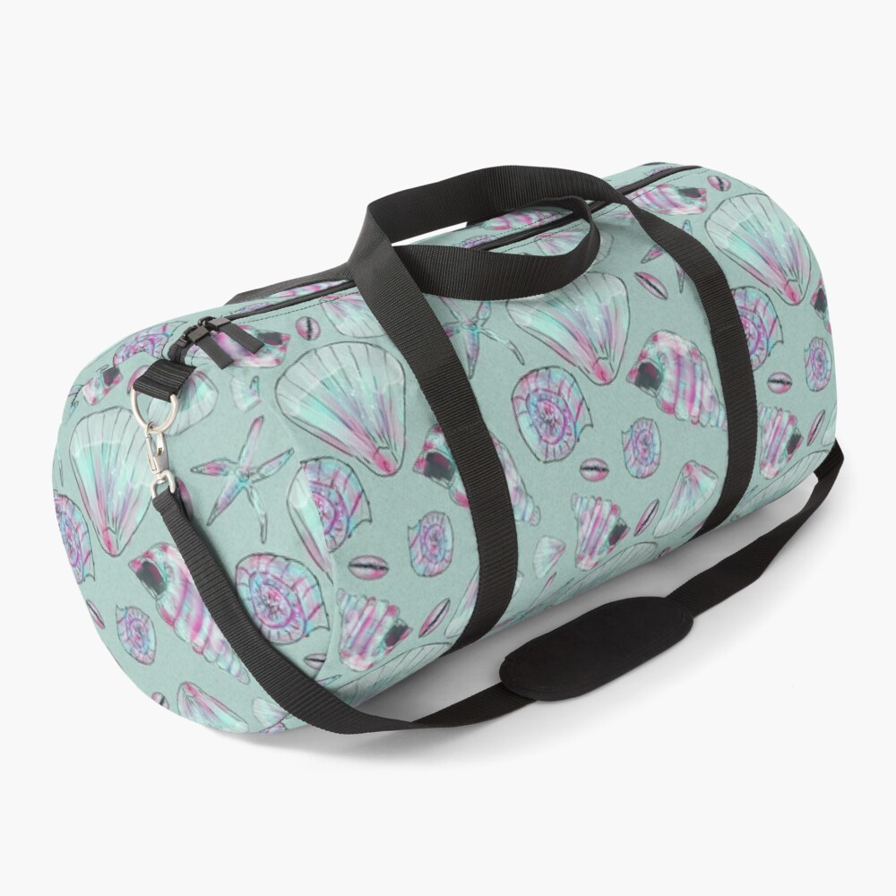 Seashell Pattern in Aqua, Turquoise, Pink and White Duffle Bag