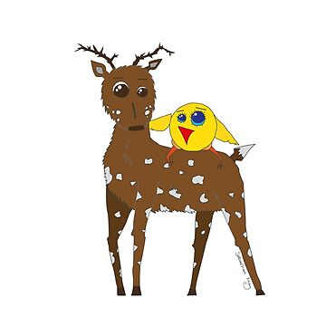 Diego the Deer and Yellow Bird by sebastianmay