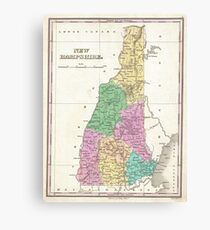 Vintage Map of New Hampshire (1827) Canvas Print