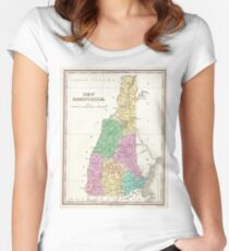 Vintage Map of New Hampshire (1827) Women's Fitted Scoop T-Shirt