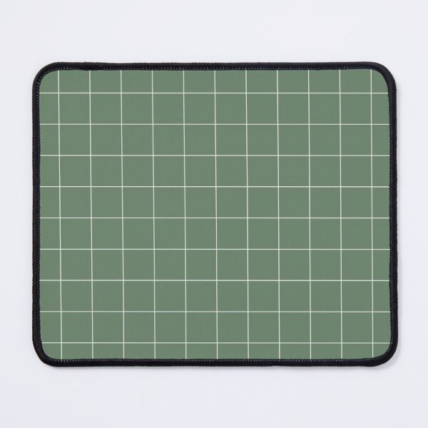 Windowpane Check Grid (white/sage green) Mouse Pad