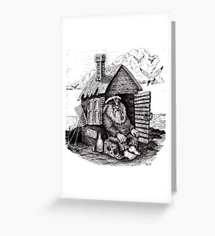 Old retired pirate black and white pen ink drawing Greeting Card
