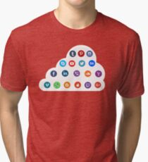 Social Media Cloud Icons Tri-blend T-Shirt