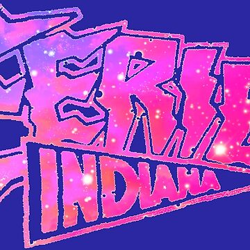 Eerie Indiana logo in blue and pink by froodle