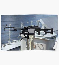 Machine gun on warship Poster