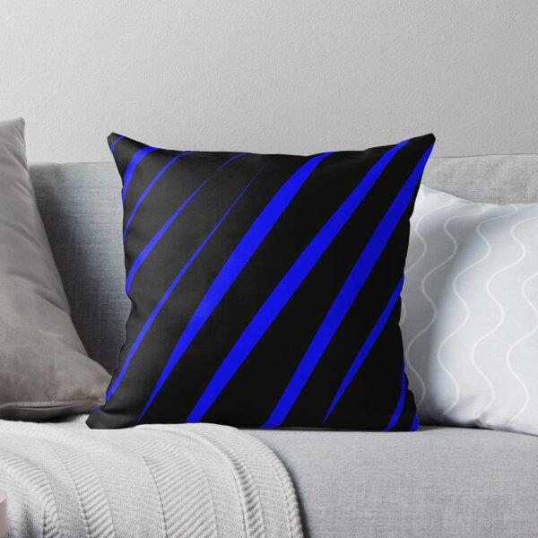 Blue Stripes on Black Pattern Throw Pillow