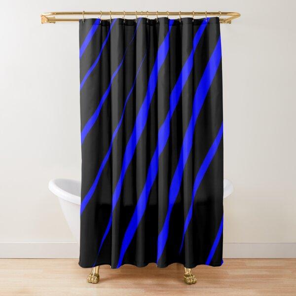 Blue Stripes on Black Pattern Shower Curtain