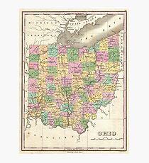 Lámina fotográfica Mapa vintage de Ohio (1827)