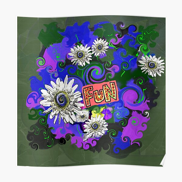 Bright Floral Fun With Daisies Poster