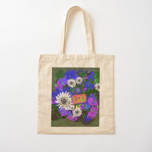 Bright Floral Fun With Daisies Cotton Tote Bag